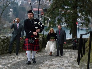 Bled Castle Bagpiper, Slovenia Wedding