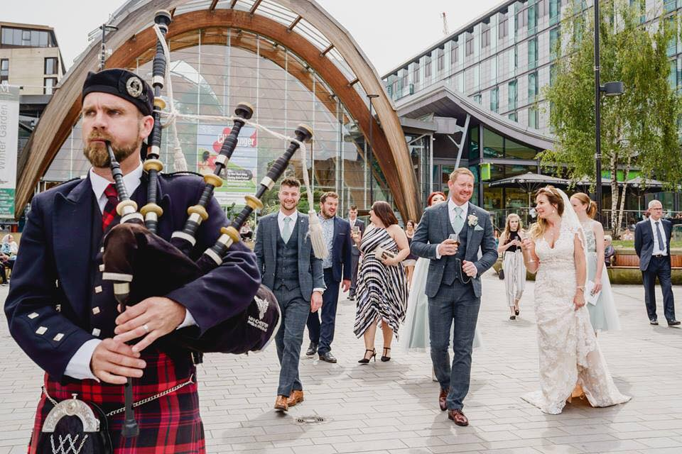 Yorkshire Wedding Bagpiper Winter Gardens, Sheffield
